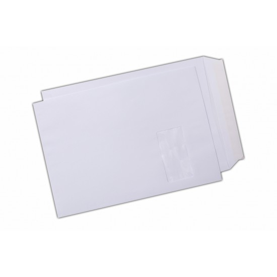 Plic C4, siliconic, cu fereastra pe dreapta, alb, 250 buc.